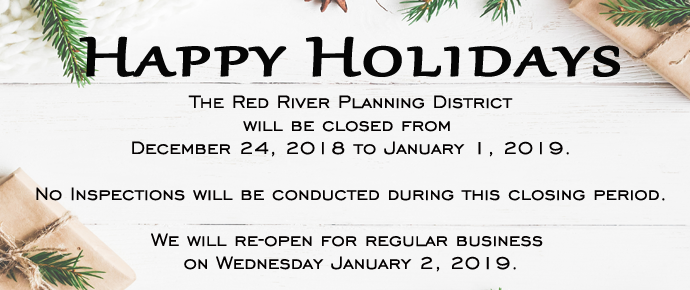 RRPD will be closed from December 24, 2018 to January 1, 2019