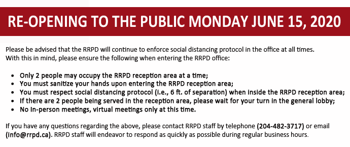 RRPD Re-Opening to the Public June 15, 2020